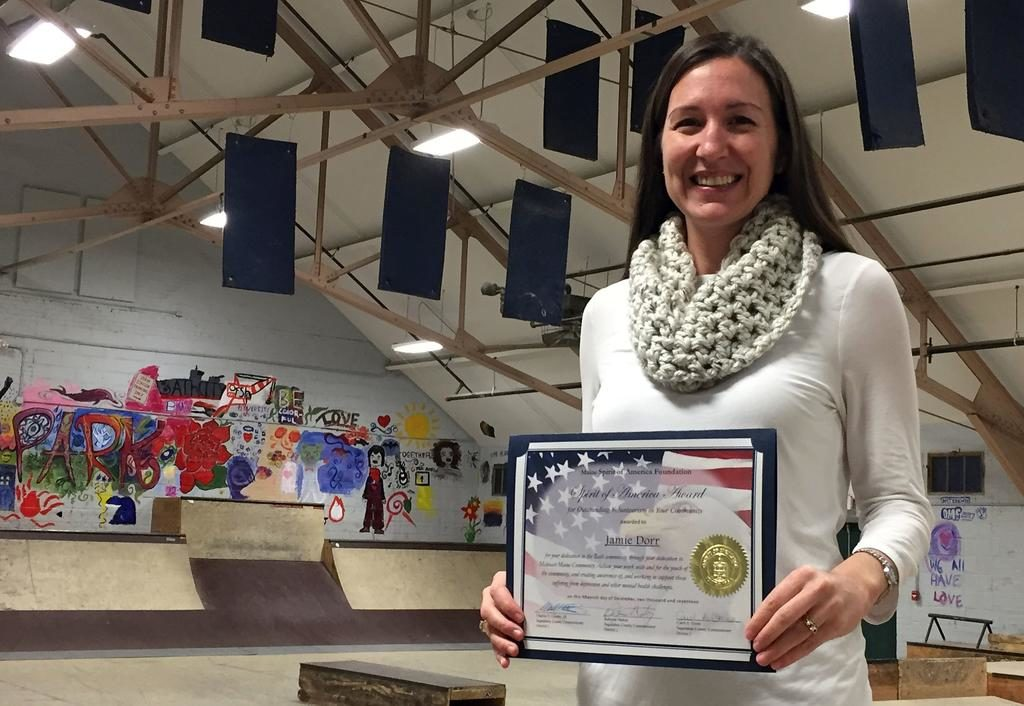 Jamie Dorr, president of the Friends of the Bath Youth Meetinghouse & Skatepark, recently received the Spirit of America Foundation award for her work with the Midcoast Community Alliance.